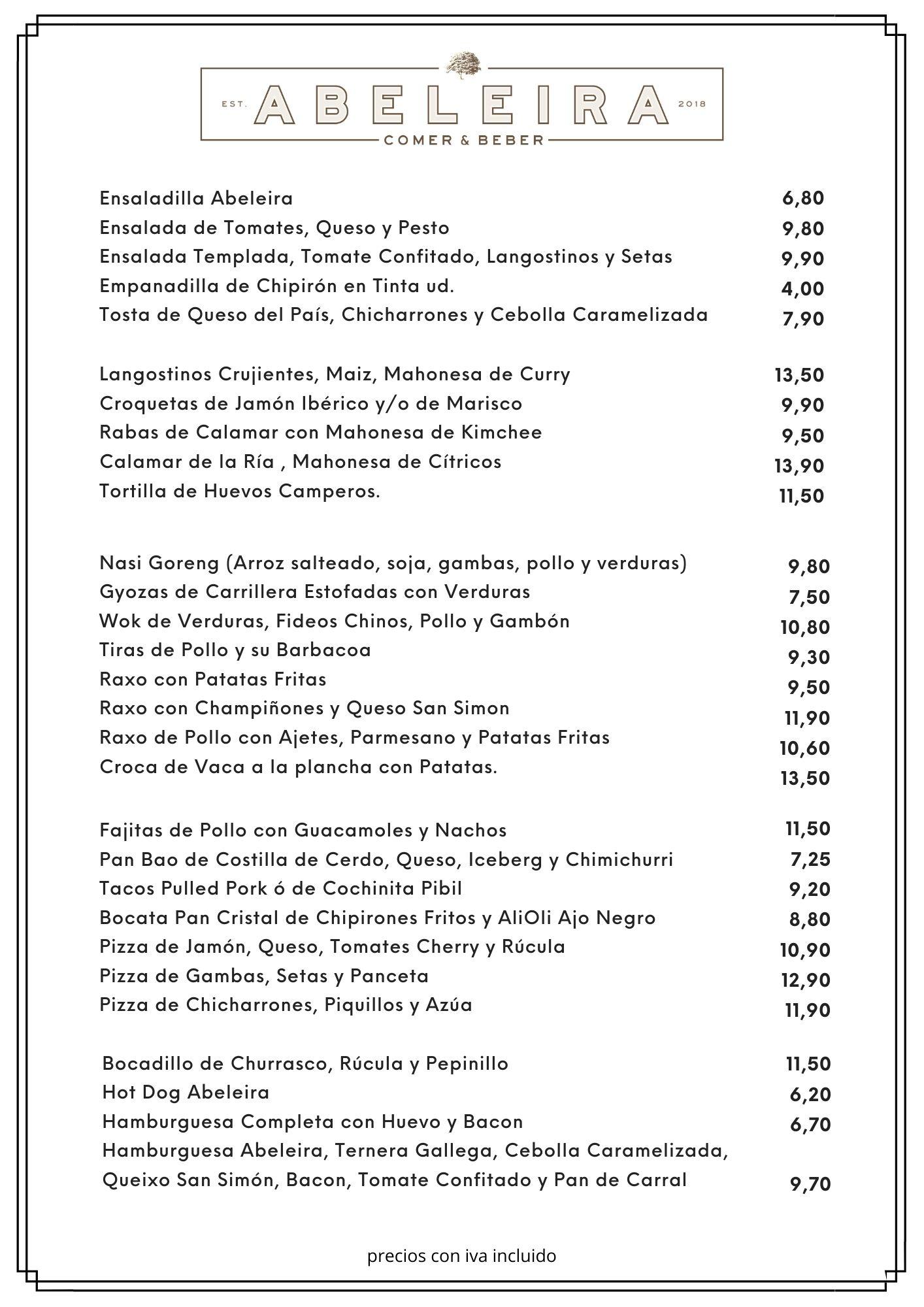 CARTA DE POSTRES MESON A CEPA